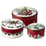Villeroy & Boch - Winter Collage Accessoires - 3 pojemniki na ciasteczka - średnice: 13,5; 17; 20 cm