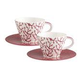 Villeroy & Boch - Caffé Club Floral Berry - 2 filiżanki do białej kawy ze spodkami - pojemność: 0,35 l