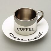 PO: - Anamorphic - filiżanka ze spodkiem Coffee - pojemność: 0,12 l