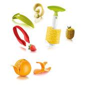 Tomorrow's Kitchen - zestaw akcesoriów do obierania owoców - do melonów, pomarańczy, truskawek i ananasa