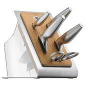 WMF - Chef's Edition - noże i nożyce w bloku - 5 elementów + blok