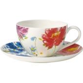 Villeroy & Boch - Anmut Flowers - filiżanka śniadaniowa ze spodkiem - pojemność: 0,4 l