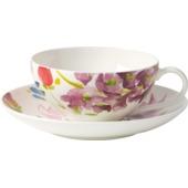 Villeroy & Boch - Anmut Flowers - filiżanka do herbaty ze spodkiem - pojemność: 0,2 l