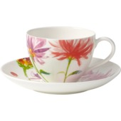 Villeroy & Boch - Anmut Flowers - filiżanka do kawy ze spodkiem - pojemność: 0,2 l