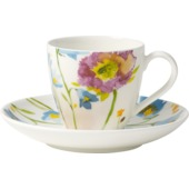 Villeroy & Boch - Anmut Flowers - filiżanka do espresso ze spodkiem - pojemność: 0,1 l