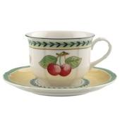 Villeroy & Boch - French Garden Fleurence - filiżanka śniadaniowa ze spodkiem - pojemność: 0,35 l