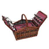 Cilio - Como - wiklinowy kosz piknikowy z wyposażeniem, ciemny brąz