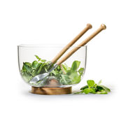 Sagaform - Nature - zestaw do serwowania sałaty - miska na podstawce + sztućce