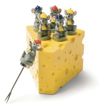 Sagaform - Cheese - stojak w kształcie sera i 6 widelczyków
