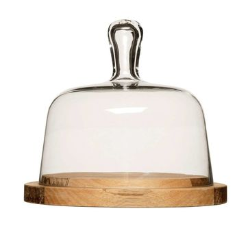 Sagaform - Nature - deska do sera ze szklaną pokrywą - średnica: 18 cm