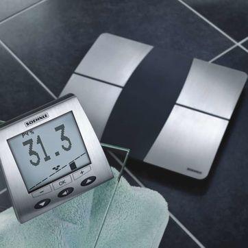 Soehnle - Body Balance Comfort F5 - elektroniczna waga łazienkowa z radiowym wyświetlaczem - pomiar poziomu tłuszczu, wody, masy mięśniowej