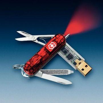 Victorinox - SwissMemory - scyzoryk-breloczek z długopisem i pamięcią flash 128 MB