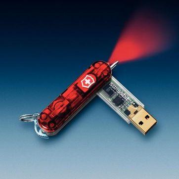 Victorinox - SwissMemory - scyzoryk-breloczek z długopisem i pamięcią flash 128 MB - bez ostrych narzędzi