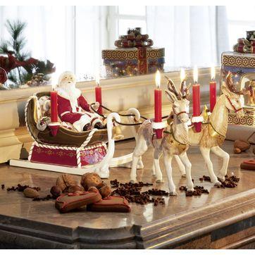 Villeroy & Boch - Christmas Toys - świecznik - Mikołaj w saniach z reniferami