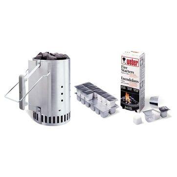 Weber - rozpalacz do grilla, brykiet i podpałka