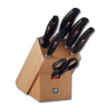 Zwilling - FIVE STAR - drewniany blok z 4 nożami, ostrzałką i nożyczkami