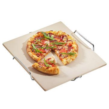 Küchenprofi - kamień do pieczenia pizzy na stalowym stojaku - wymiary: 35 x 38 cm