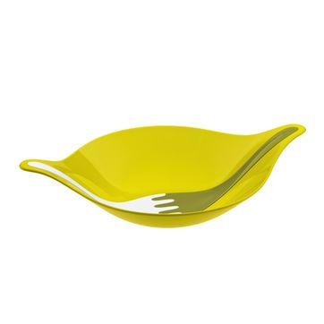 Koziol - Leaf XL - miska sałatkowa i łyżki do sałaty - wymiary: 57,5 x 38,6 cm