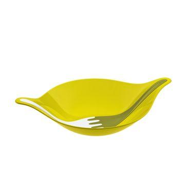 Koziol - Leaf M - miska sałatkowa i łyżki do sałaty - wymiary: 32,9 x 48,6 cm