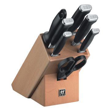 Zwilling - TWIN Four Star II - zestaw noży w bloku - 5 noży, ostrzałka i nożyczki