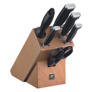 Zwilling - TWIN Four Star II - zestaw noży w bloku - 4 noże, ostrzałka i nożyczki