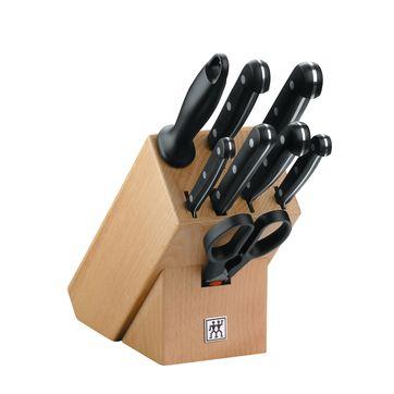 Zwilling - TWIN Gourmet - zestaw noży w bloku - 5 noży, ostrzałka, nożyczki i widelec