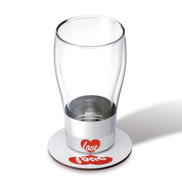 PO: - Anamorphic - szklanka z podstawką Love - pojemność: 0,4 l