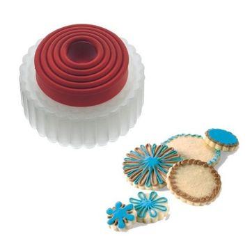 Cuisipro - foremki do ciastek okrągłe z ząbkami - 5 sztuk - średnica: 4 - 8,6 cm