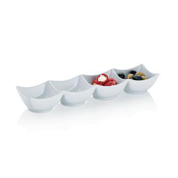 Kela - Petit - poczwórna miska porcelanowa - wymiary: 38 x 9,5 x 5,5 cm