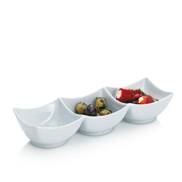 Kela - Petit - potrójna miska porcelanowa - wymiary: 28,5 x 9,5 x 5,5 cm