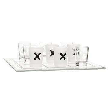 Sagaform - Bar - kieliszki i plansza do gry w kółko i krzyżyk - wymiary: 25 x 25 cm