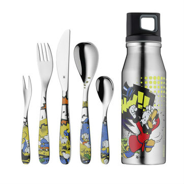 WMF - Kaczor Donald - zestaw sztućców i butelka dla dzieci