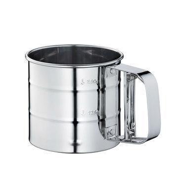 Küchenprofi - stalowy kubek z sitkiem do przesiewania - średnica: 9,5 cm