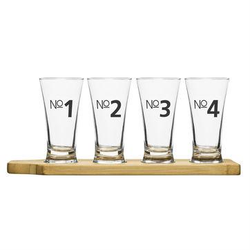 Sagaform - Bar - zestaw do piwa - 4 szklanki + podstawka