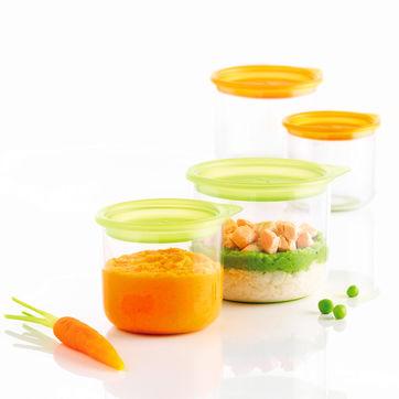 Mastrad - 4 pojemniki na jedzenie dla dzieci - pojemność: 2 x 0,3 i 2 x 0,15 l
