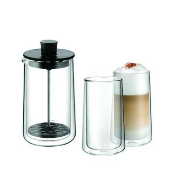 WMF - Coffee Time - spieniacz do mleka i 2 szklanki do kawy