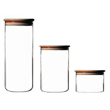 Villeroy & Boch - zestaw 3 szklanych pojemników - pojemność: 0,3; 0,8 i 1,6 l