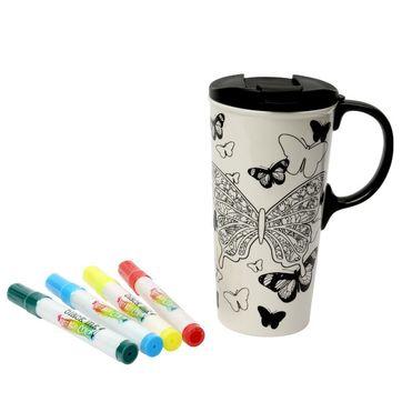 Dexam - Just Add Colour - kubek podróżny z flamastrami do malowania - pojemność: 0,475 l