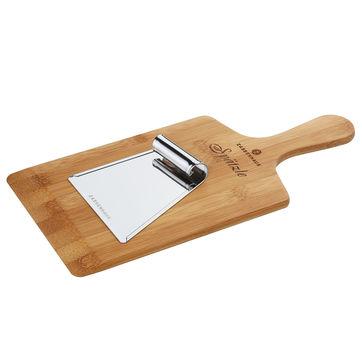 Zassenhaus - Eco Line - bambusowa deska do szpecli/lanych klusek ze stalową szpatułką - 34 x 16 x 0,9 cm