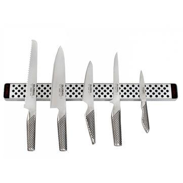Global - zestaw 5 noży z listwą magnetyczną - długość listwy: 51 cm