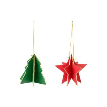 Villeroy & Boch - Christmas Toys 2017 - 2 zawieszki - choinka i gwiazdka - wysokość: 9 cm