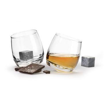 Sagaform - Club - 2 szklanki do whiskey z kamieniami - pojemność: 0,2 l; pudełko prezentowe