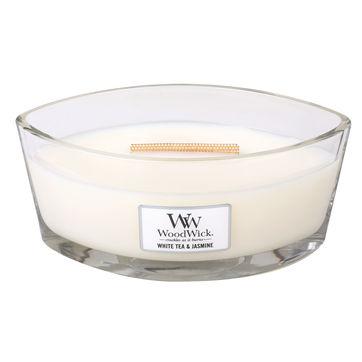 WoodWick - White Tea & Jasmine - świeca zapachowa - biała herbata z jaśminem - czas palenia: do 40 godzin