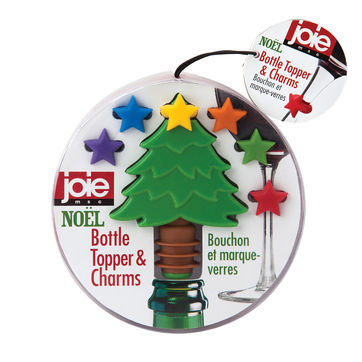 MSC - Noel - świąteczny zestaw do wina - korek z choinką i 6 znaczników na kieliszki