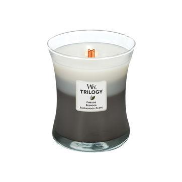 WoodWick - Warm Woods - potrójna świeca zapachowa - płonące drewno - czas palenia: do 100 godzin