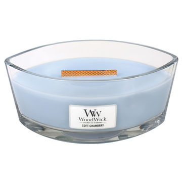 WoodWick - Soft Chambray - świeca zapachowa - jaśminowa tkanina - czas palenia: do 40 godzin