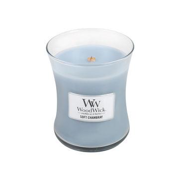 WoodWick - Soft Chambray - świeca zapachowa - jaśminowa tkanina - czas palenia: do 100 godzin