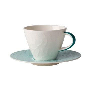 Villeroy & Boch - Caffé Club Floral Touch of Ivy - filiżanka do kawy ze spodkiem - pojemność: 0,22 l