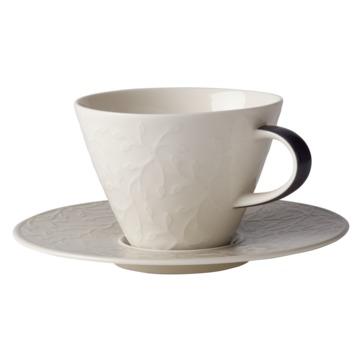 Villeroy & Boch - Caffé Club Floral Touch of Smoke - filiżanka do białej kawy ze spodkiem - pojemność: 0,39 l