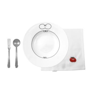 WMF - Animals - zestaw do spaghetti dla dzieci - talerz, sztućce i śliniak
